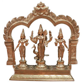 9 Inch Muruga (with his consorts Valli & Devasenna) Statue